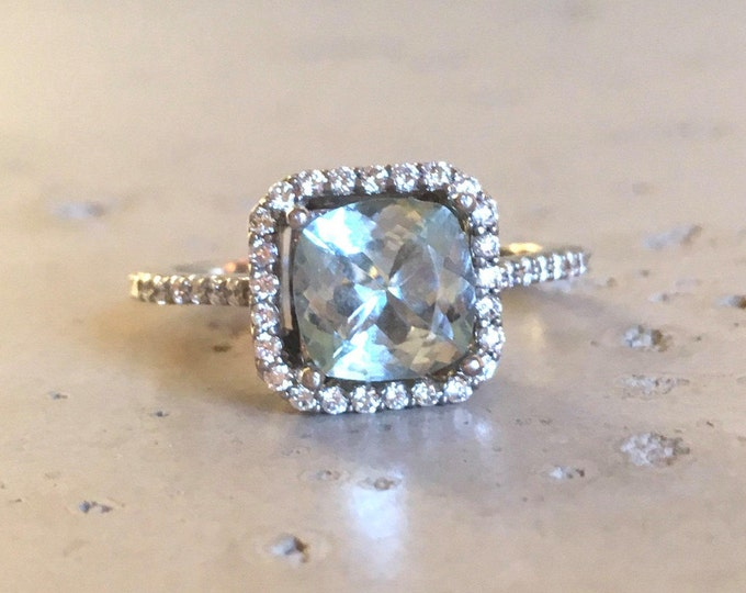 Square Aquamarine Engagement Ring- Rose Gold Aquamarine Ring- Cushion Halo Promise Ring-Blue Gemstone Anniversary Ring-March Birthstone Ring