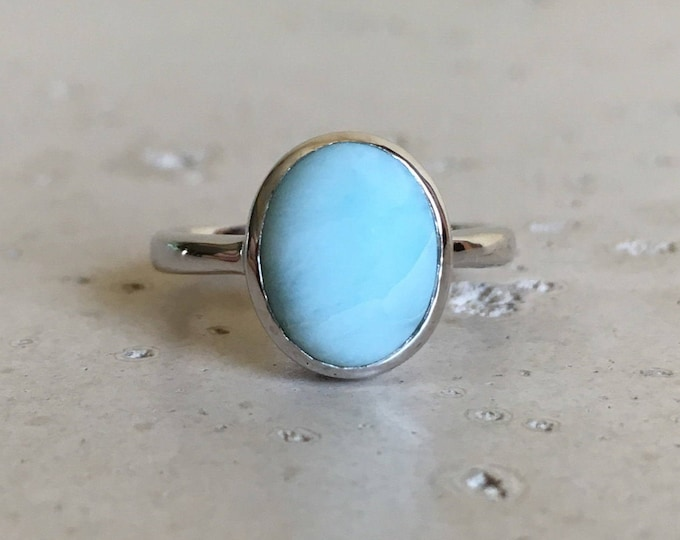 Boho Stackable Turquoise Ring- Oval Bohemian Silver Ring- Baby Blue Gemstone Ring- Gypsy Aqua Blue Ring- Sterling Silver Ring for her