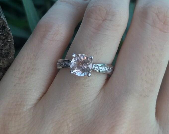 1.20ct Woman Morganite Engagement Ring- Genuine 7mm Morganite Promise Ring for her- Simple Engagement Ring- Round Pink Gemstone Solitaire Ri