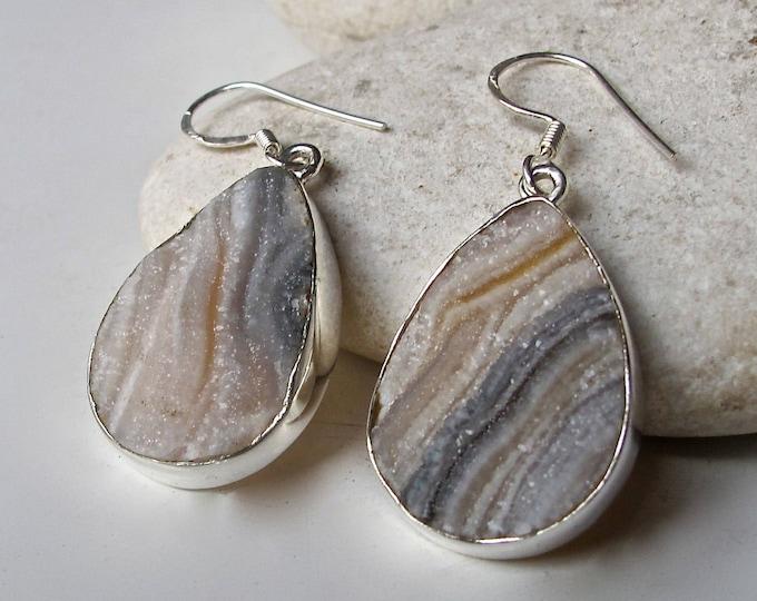 Teardrop Striped Druzy Sterling Silver Raw Dangle Earring Genuine Real Desert Druzy Drop Earring