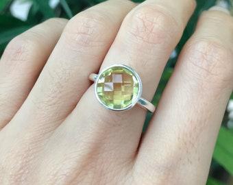 Round Lemon Quartz Ring- Faceted Stackable Lemon Ring- Rose Gold Ring- Simple Bezel Gemstone Ring-Yellow Stone Stacking Sterling Silver Ring