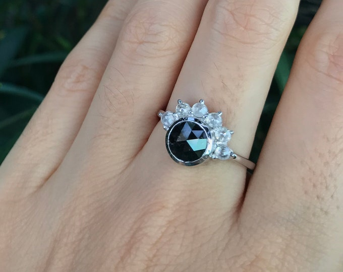 Rose Cut Black Diamond Engagement Ring- Round Genuine Black Diamond with Halo White Rose Cut Diamond Promise Ring for Her- White Gold Ring