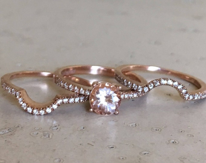 Morganite Engagement Ring Set- Morganite Rose Gold Ring- 4 Prong Alternative Bridal Set Ring- Morganite Diamond Ring Set- Pink Gemstone Ring