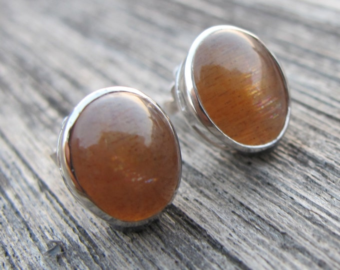 Oval Sunstone Boho Earring- Sterling Silver Bohemian Earring- Cabochon Smooth Earring- Classic Everyday Stud- Simple Gold Gemstone Earring
