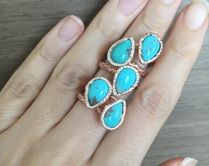 Rose Gold Boho Ring- Pear Turquoise Rustic Ring- December Birthstone Bohemian Ring- Turquoise Statement Ring- Genuine Blue Turquoise Ring