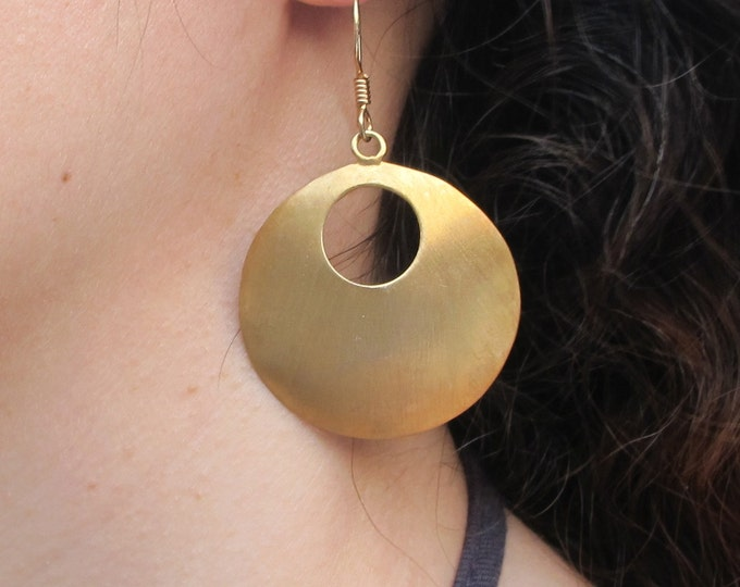 Large Gold Hoop Earring- Boho Gold Dangle Earring- Large Circle Drop Earring- Bohemian Geometric Minimalist Earring