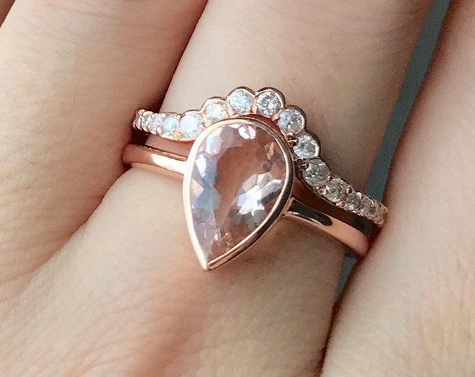 Vintage Morganite Rose Gold Engagement Ring Set- Teardrop Morganite Bridal Ring Set for Her- Morganite Diamond Wedding 2 Ring Set