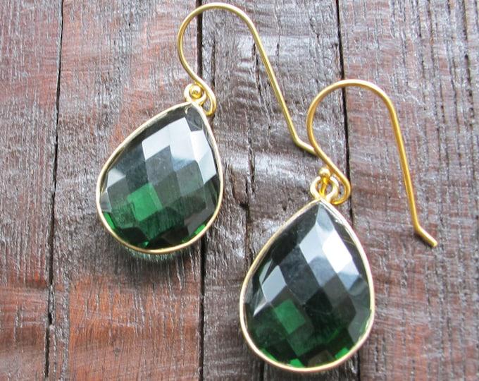 Green Emerald Teardrop Dangle Earrings- Green Quartz Pear Drop Earring- Chrome Diopside Statement Earring- Green Stone Large Earrings