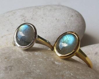 Labradorite Ring Genuine Labradorite Ring Rose Gold Ring Simple Cabochon Iridescent Gold Labradorite Silver Boho Ring Stack