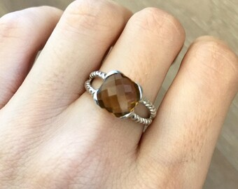 Square Smoky Quartz Ring- Double Shank Statement Ring- Brown Gemstone Sterling Silver Ring- Cushion Cut Faceted Stone Ring- Solitaire Ring