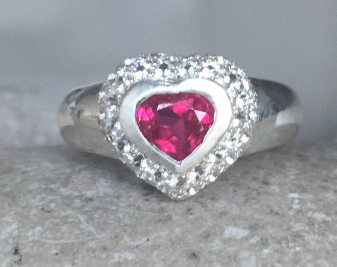 Red Heart Engagement Ring- Heart Shape Promise Ring- Unique Anniversary Ring- July Birthstone Ring- Valentines Day Ring