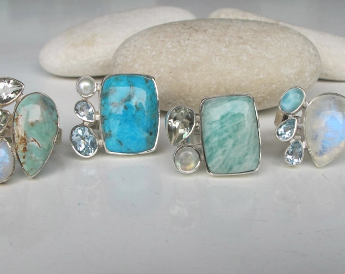 Multistone Statement Ring- Turquoise Blue Topaz Moonstone Ring- Green Amethyst Ring- Unique Birthstone Ring- Cluster Stone Ring