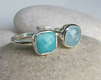 Stack Ring- Aquamarine Ring- Amazonite Ring- Blue Ring- Square Ring- Jewelry Gifts for Her- Stone Ring- Statement Ring- Square Ring- Ring