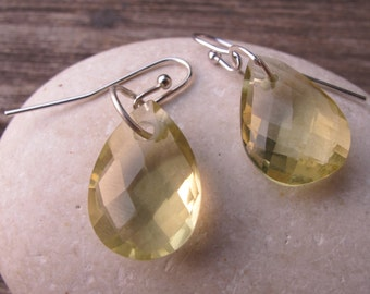 Lemon Quartz Earring- Dangle Drop Earring- Lemon Gemstone Earrings- Sterling Silver Drop Earring Simple Yellow Tear Drop Faceted