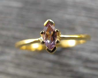 Amethyst Gold Ring Dainty Tiny Purple Amethyst Stack Ring Small Simple Childrens February Birthstone Ring Minimalist