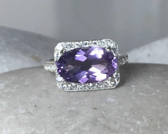 Oval Purple Amethyst Engagement Ring- East West Amethyst Solitaire Ring- Halo Genuine Purple Gemstone Ring- February Birhtstone Ring