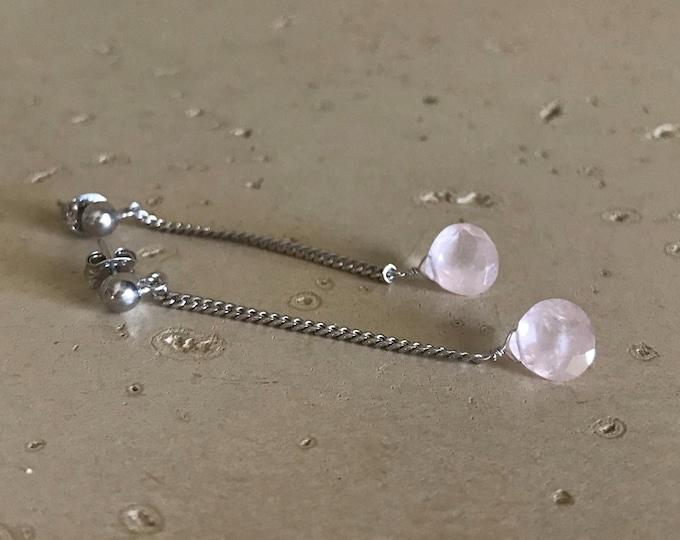 Rose Quartz Dangle Earrings- Long Boho Earring- Rose Quartz Drop Earring- Minimalist Everyday Earring- Silver Chain Festive Earrings