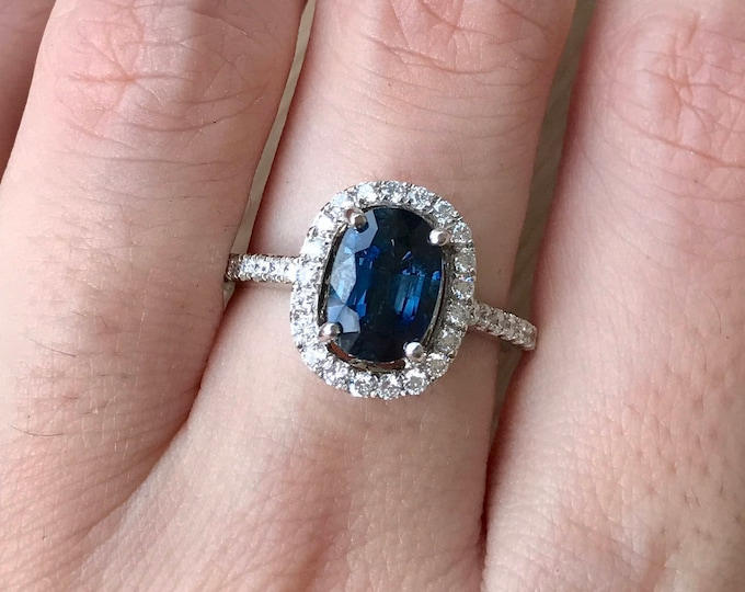 Certified 1.73ct Blue Sapphire Elongated Oval Engagement Ring- Genuine Dark Blue Sapphire White Gold Ring- Sapphire Diamond Anniversary Ring