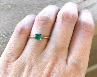 Tiny Genuine Emerald Promise Ring- Dainty Simple Emerald Engagement Ring- Green Emerald Anniversary Ring- Round Prong White Gold Ring