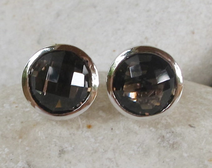 Classic Smoky Quartz Stud- Round Brown Stud Earring- Simple Classic Brown Stud Earring- Gifts for Bridesmaid- Jewelry Gifts for Her