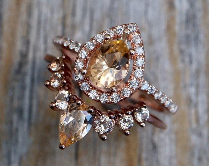Teardrop Peach Morganite Bridal Ring Set- Pear Champagne Gemstone Engagement 2 Ring Set- Beige Halo Ring with Wedding Band