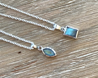 Labradorite Necklace Silver Boho Labradorite Layering Necklace Handmade Small Iridescent Necklace Simple Minimalist Necklace Gifts under 35