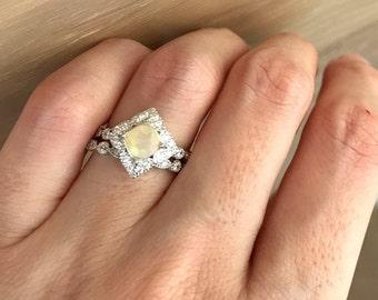 Round Opal Bridal Set- Fire Opal Engagement Ring Set- Alternative Wedding Set Ring- Genuine Opal Promise Ring- Halo Engagement Set