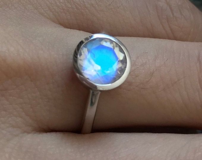 1.63ct Blue Moonstone White Gold Engagement Ring- Round Moonstone Promise Ring for Her- Bezel Facet Moonstone Solitaire Ring