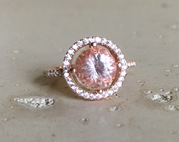 Rose Gold Morganite Ring- Halo Morganite Ring- Morganite Promise Ring- Round Pink Gemstone Ring- Alternative Engagement Ring