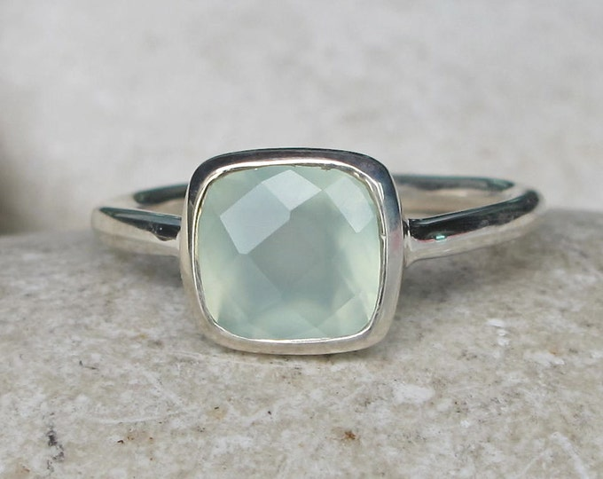 Square Seaform Stackable Ring- Aqua Gemstone Cushion Ring- Stack Ring- Square Ring- Sterling Silver Mint Ring- Simple Bezel Stone Ring