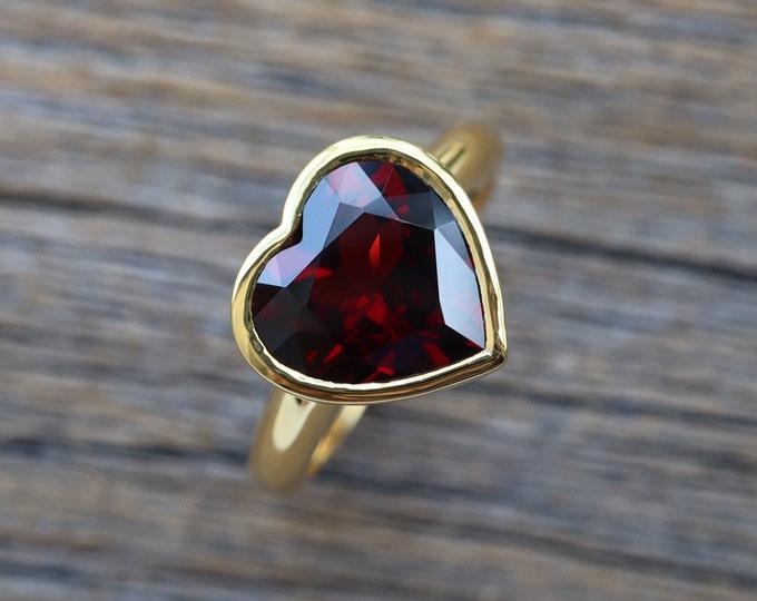 Heart Genuine Garnet Promise Ring- Rose Gold Natural Garnet Ring- Heart Engagement Ring- January Birthstone Ring- Valentine Ring for Her