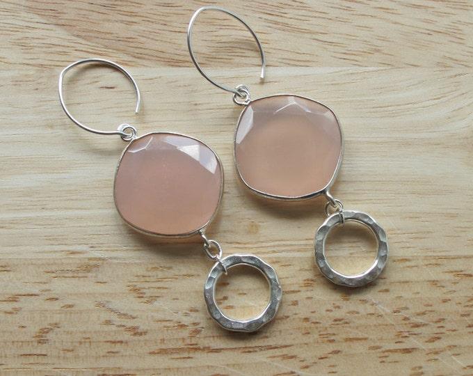 Bohemian Hoop Pink Dangle Earring- Unique Statement Drop Earring- Double Hoop Earring- Sterling Silver Earring- Double Drop Earring