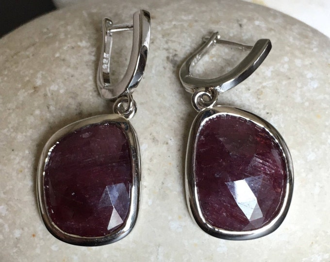 Dark Genuine Ruby Earring Raw Natural Handmade Dangle Red Ruby Earring July Birthstone Sterling Silver Earring