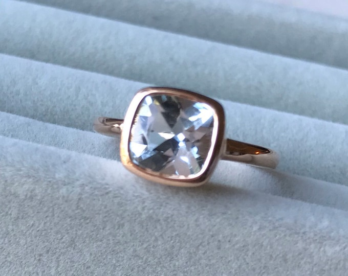 Rose Gold Aquamarine Engagement Ring- Natural Genuine Square Aquamarine Bezel Ring- Blue Gemstone Simple Ring- March Birthstone Ring