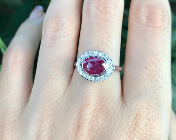 Genuine 1.25ct Ruby Oval White Gold Engagement Ring- Natural Ruby Halo Solitaire Promise Ring- Ruby Diamond Anniversary Ring- July Birthston