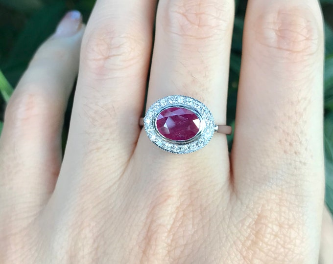 Genuine Ruby Oval White Gold Engagement Ring- Natural Ruby Halo Solitaire Promise Ring- Ruby Diamond Anniversary Ring- July Birthstone Ring