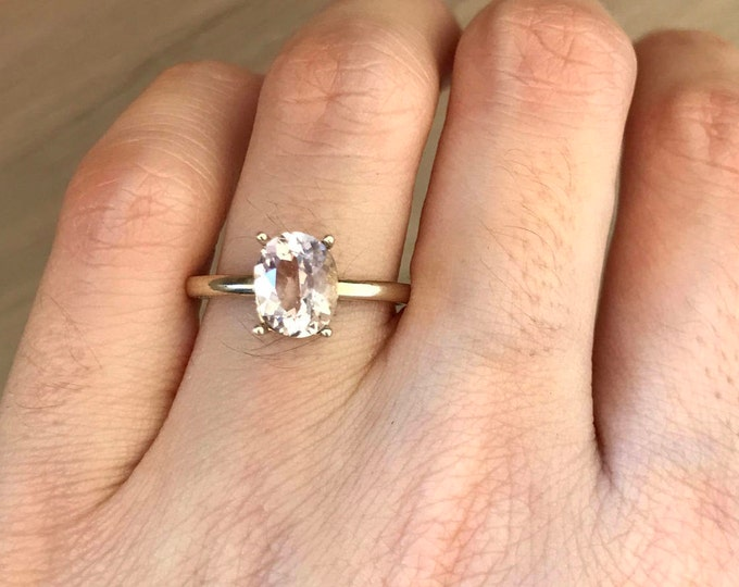 18k White Gold Morganite Ring- Prong Morganite Engagement Ring- Simple Morganite Promise Ring- Oval Morganite Wedding Ring- Anniversary Ring