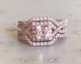 Morganite Princess Engagement Ring Set- Morganite Rose Gold Bridal Ring Set- 14k Halo Morganite Diamond Edwardian Rings- 3 Piece Ring Set