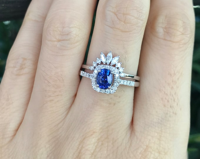 Blue Sapphire Halo Engagement Ring Set- Genuine Oval Sapphire Bridal Ring Set- Royal Blue Sapphire with Diamond White Gold Ring with Band
