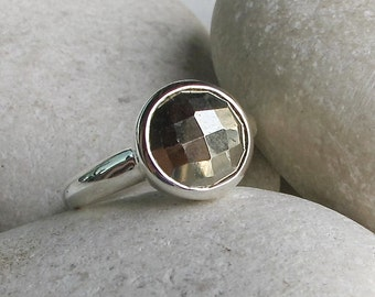 Rustic Pyrite Silver Ring- Round Metallic Sparkle Ring- Faceted Gold Color Ring- Unique Gemstone Statement Ring-Sterling Silver Minimal Ring