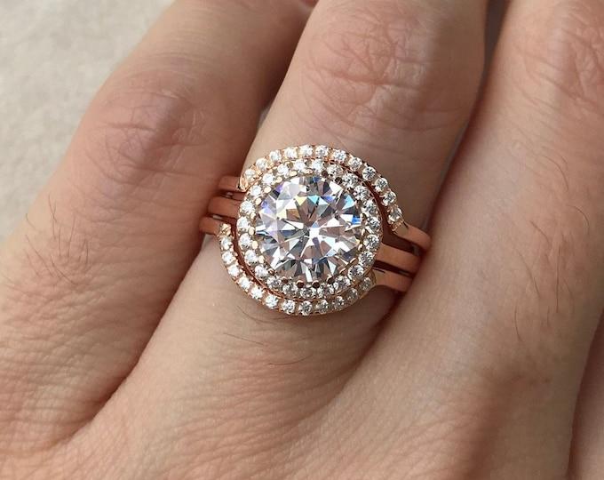 3.70ct Cubic Zirconia Round Bridal Ring Set- Diamond Simulant Halo Engagement Wedding Ring Set- 3 Piece Silver Rose Gold Ring Set