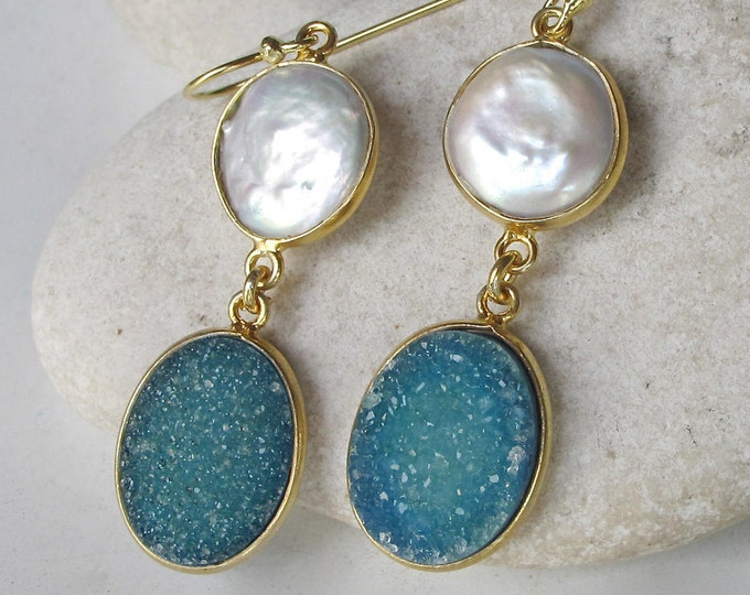 Pearl Druzy Earring Handmade 2 Stone Double Drop Gold Real Druzy Long Dangle Earring Bohemian Boho