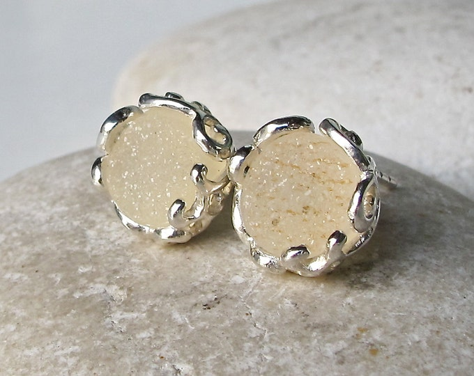 Beige Druzy Stud Earring- Round Classic Earring- Sterling Silver Earring- Bridesmaid Stud Earring- Jewelry Gifts for Her- Gift for Wife