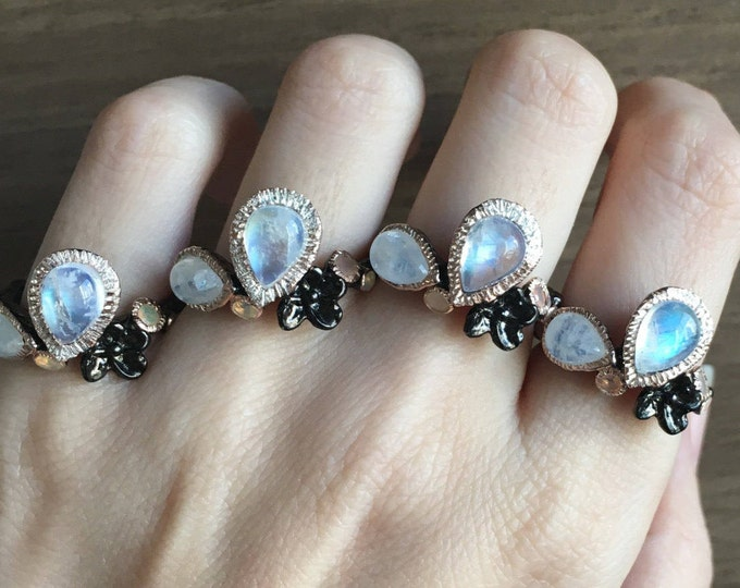 Bohemian Cluster Multistone Ring- Boho Moonstone Opal Ring- Nature Inspired Ring- Floral Leaf Black Ring- Gothic Punk Ring