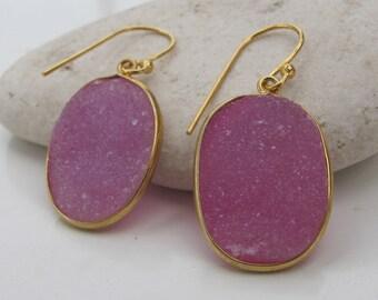 Pink Oval Druzy Dangle Earring- Simple Raw Pink Earring- Minimalist Gemstone Gold Earring- Rough Stone Pink Crystal Earring