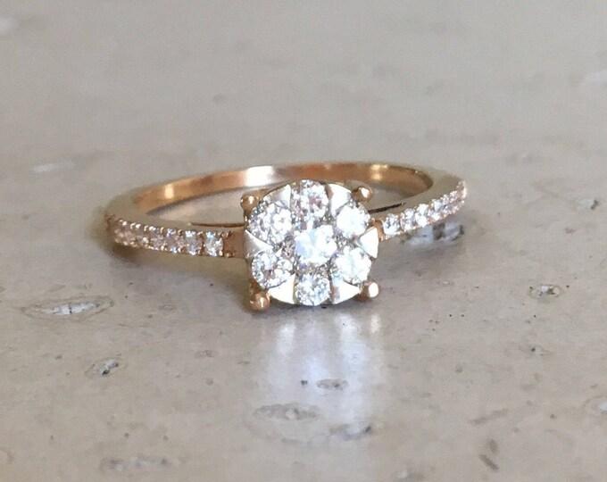 18k Cluster Diamond Ring- Rose Gold Diamond Engagement Ring- Diamond Gold Promise Ring- Round Diamond Mutlistone Ring