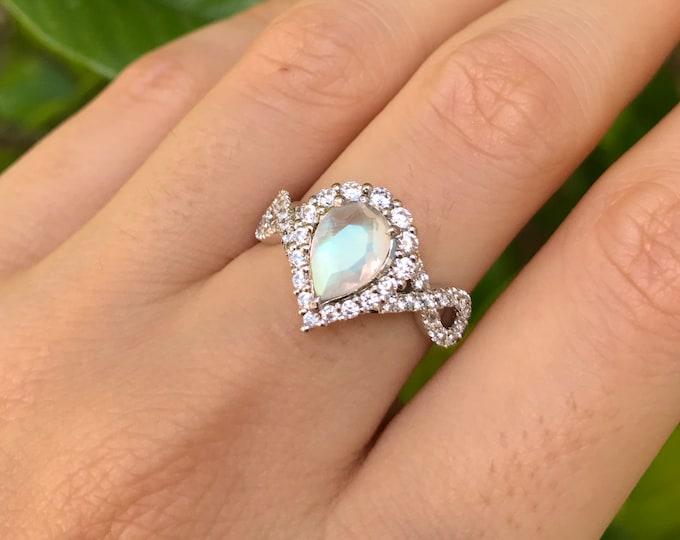Teardrop Moonstone Infinity Engagement Ring- Genuine Rainbow Moonstone Promise Split Shank Ring- Moonstone Pear Halo Anniversary Ring