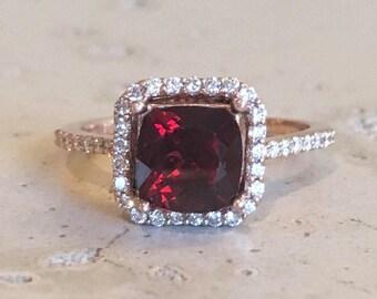 Cushion Garnet Engagement Ring- Rose Gold Garnet Promise Ring- Red Garnet Halo Diamond Ring- Solitaire Square Red Gemstone Ring