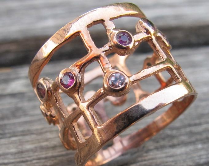 Cluster Ring Boho Pink Tourmaline Statement Geometric Ring Rose Gold Wide Band Ring