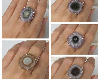 Raw Boho Amethyst Ring- Bohemian Statement Ring- Geode Rock Ring- Gypsy  Ring- Unique Gifts for Her